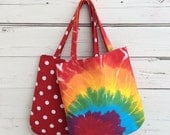 Tie Dye Tote Bag, Polka Dots Bag, Reversible Tote Bag, Festival Tote Bag, Canvas Tote Bag, Purse, Handbag, Book Bag, Summer Tote Bag