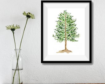 Pine Tree art print, pine tree Print of original watercolor painting, Christmas art, woodland art print, pine green, holiday art