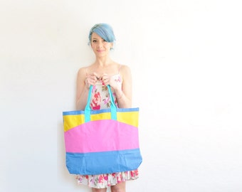 1980 Punky Brewster worthy tote bag . large carry all beach purse . bright pink yellow blue