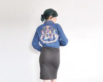 embroidered maypole Bob Mackie shirt . blue jean denim blouse .medium.large .sale