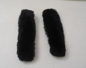 Vintage Black Rabbit Fur Coat Cuffs