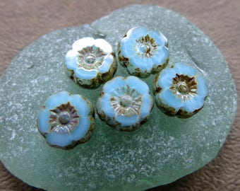 NEW Baby BLUE BLOSSOMS . Czech Picasso Glass Flower Beads . 9 mm (10 beads)