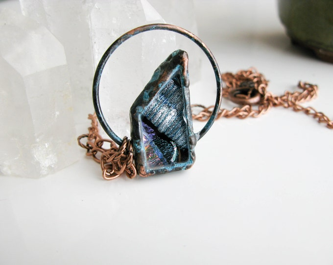 Silver Fused Glass Pendant Electroformed Copper Necklace Modern Jewelry Large Glass Pendant Statement necklace OOAK