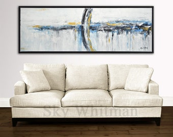"Large 72"" Original Painting Modern Abstract Art Contemporary Oil Painting Gold Blue Black and White Abstract Free Shipping 6ft READY TO HANG"