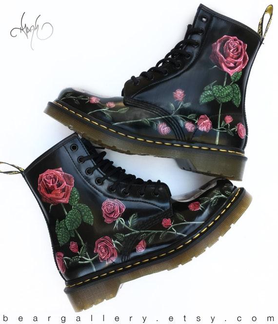 custom doc martens boots skulls and roses hand painted. Black Bedroom Furniture Sets. Home Design Ideas