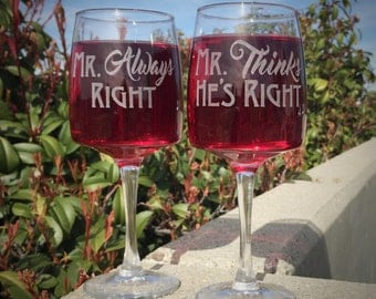 Gay Wedding Gift for Gay Men Gay Couple Mr Right Mr Always Right Wine Glass Set Same Sex