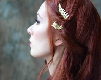 Gold bridal hair pins, grecian leaf pins, fern bobby pins, golden hair clips, gold leaf hair pin set, bridal hair pins, gold hair accesories