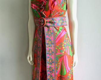 Vintage Women's 60's Mod, Sleeveless Dress, Orange, Floral, Full Length, Gown (M)