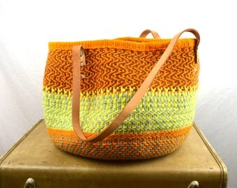 Vintage Sisal Leather Woven Market Bag Handbag