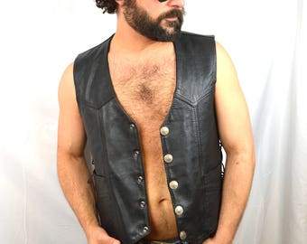 Vintage 90s Black Leather Biker Vest - Buffalo Nickel Buttons Snaps