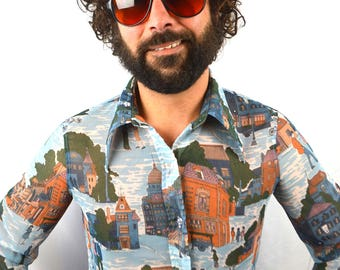 Awesome Vintage 1970s 70s City Streets Button Up Shirt by Loubella