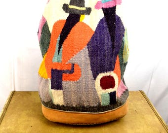Vintage Rainbow Woven WOW Rare Wool Rucksack Backpack Tote