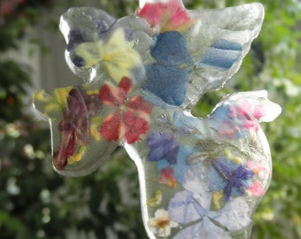 Heavenly Garden Angel Resin Suncatcher-Pressed Flowers-Hydrangea,Verbena,Pansy,Pine Sprig,Lobelia,Rose,Veronica-Gifts Under 30-Angel Lover