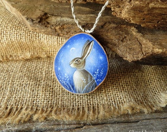 Hare - Hand Painted Wooden Pendant - Original Art