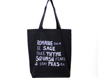 VEGGIE WISDOM Tote. Punny Tote. Black Canvas Bag. Funny Saying Tote. Grocery Shopping Bag. Carry All Bag. Puns Market Bag Printed Tote Bag