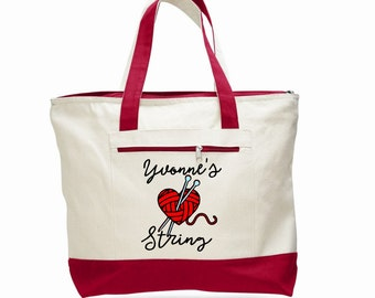 Knitting bag, crochet tote, yarn tote bag, personalized knitting bag, crafter tote bag, craft supply tote, knitter gift, canvas zippered bag