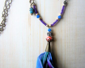 Boho tassel necklace, boho beaded necklace, long layering necklace, long boho necklace, colorful beaded necklace, boho tassel pendant