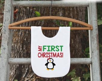 Penguin Bib for Baby - Christmas Bib - First Christmas Dinner Bib - Winter Holiday Bib for Baby Girl - Christmas Gift For Baby