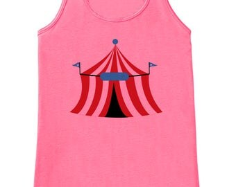 Circus Tank - Ladies Carnival Top - Circus Tent Tank Top - Pink Tank Top - Womens Shirt - Carnival Birthday Party Outfit - Carnival Party