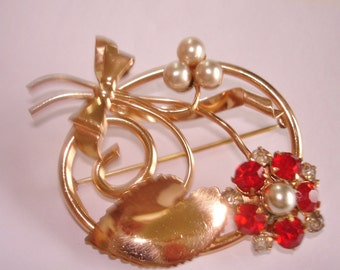 Pearl Red Flower Brooch Gold Tone