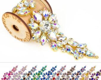 """Rhinestone Motif - Floral Crystal Applique - 7.5"""" x 2"""""""
