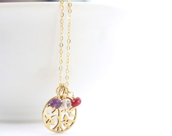 Grandma Birthstone Necklace - Gold Grandma Necklace - Nana Necklace - Custom Grandmother Gift - Gold Family Tree Necklace - Mimi Necklace