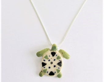 Ceramic Turtle Necklace, Pottery Turtle Necklace, Turtle Pendant, Turtle Jewelry, Turtle Collector, Art Turtle Necklace, Nature Lover Gift