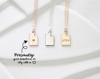 Small Utah State Necklace or Bracelet, Utah Small State Charm Necklace, I Heart Utah Necklace Gold, Personalized Stamp, Salt Lake, Park City