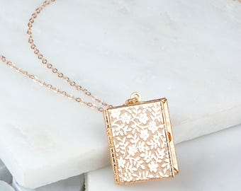 Rose Gold Book Locket Necklace, Patterned Floral Rose Book Locket, Rectangle Locket Rose Gold Necklace Pictures and Photos, Daughter Gift