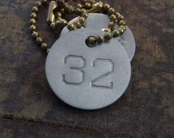 Number 32 TAG, vintage tag, aluminum number tag, sheep, cow, livestock tag