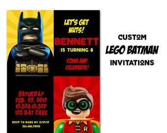 Batman Birthday Invitation, Movie Party Invitation,  Invite Cards, Digital File Printable or Printed Invitation, Robin