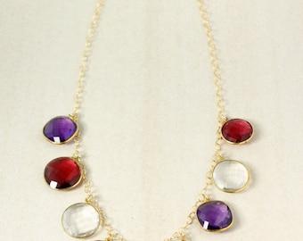Gold Ruby Quartz & Amethyst Quartz Bib Necklace - Multi Stone Bib Necklace