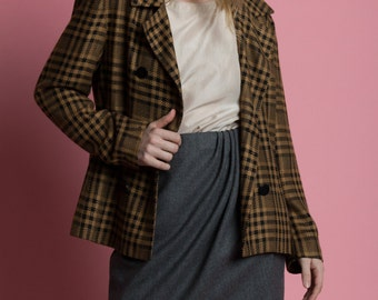 Vintage 90s Christian Dior Plaid Double Breasted Jacket | S/M