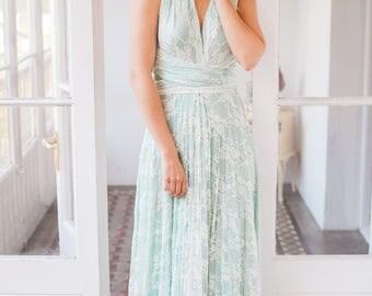 Romantic wedding dress, pastel green wedding dress, sage green bridal gown, ready made lace wedding dress, pastel green long lace dress
