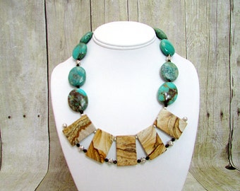 Turquoise and Picture Jasper Handcrafted Necklace with Matching Earrings - T61 -