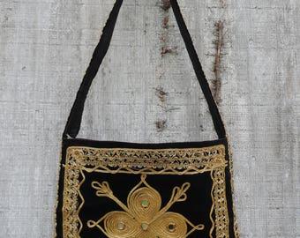 vintage boho cross body bag black velvet ethnic gold mirrored India sling purse