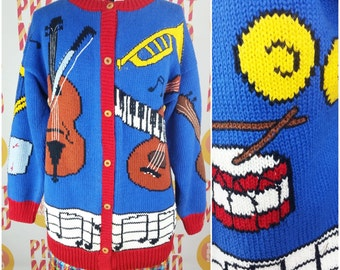 Crazy Vintage 90s Red, Blue & Yellow Musical Instrument Sweater Cardigan!