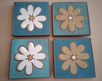 "Van Briggle Architectural SET of FOUR, Ceramic Tiles, Handmade -- 5""x 5"" Vintage & Un-used"