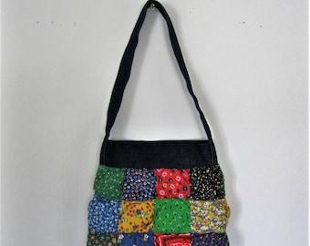 Vintage Children's quilted patchwork bag / 70s denim and floral calico kids purse / Hippie Boho Folk Vintage childs shoulder bag