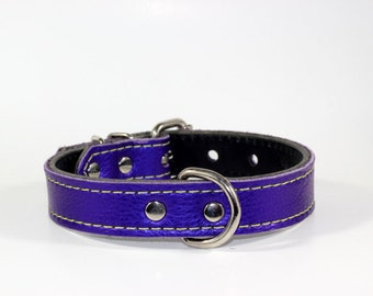 "Purple Leather Dog Collar - 1"" Purple Dog Collar, Purple Collar - Ready To Ship - Fits 12"" to 16"""