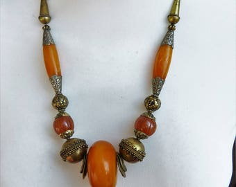 African and Tibetan Amber Necklace, Extra long