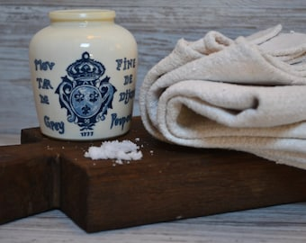 French Vintage Mustard Pot, Moutarde Grey Fine de Dijon - French Farmhouse, French Kitchen, French Stoneware