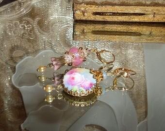 Vintage pink rose garden beaded bead image bead charm cabochon asymmetrical earrings Sacred Jewelry Pamelia Designs