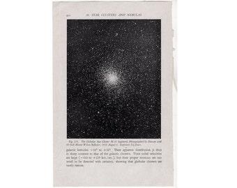 c.1946 GLOBULAR STAR CLUSTER - original vintage print - celestial astronomy - M 22 sagittarius