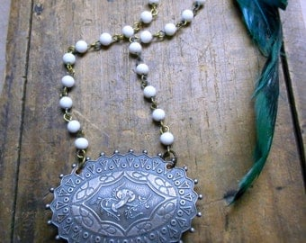 The Edelweiss Heirloom Necklace. Antique German Pewter medallion Brooch & vintage white glass rosary chain.