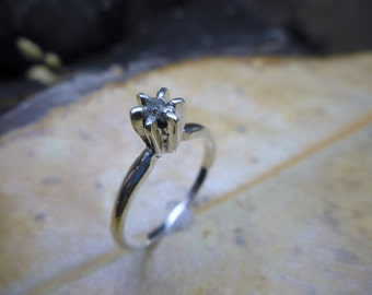 25% off now! Zephyr Sky .25CT Rough Diamond Solitaire Engagement Ring Sterling Silver Silver-Gray raw uncut diamond ring size 6.5