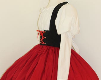 Heidi Swiss Miss German Barmaid Bar Maid Victorian Girl Dress Costume Halloween Cosplay Leg O Mutton Sleeves Custom including Plus Size
