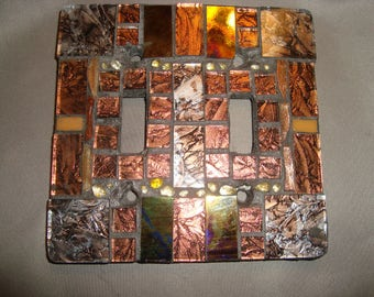 MOSAIC LIGHT SWITCH Plate Cover - Double, Wall Plate, Bronze, Gold, Silver, Iridescent Black