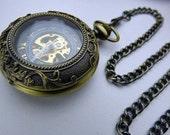 Premium Victorian Bronze Mechanical Pocket Watch, Watch Chain, Engraved Ornate, Steampunk Watch - Engravable view window - Item MPW49
