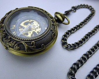 Premium Victorian Bronze Mechanical Pocket Watch, Watch Chain, Engraved Ornate, Steampunk Watch - Engravable view window - Item MPW49